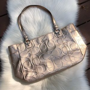 Coach Metallic Gold Signature Embossed Bag